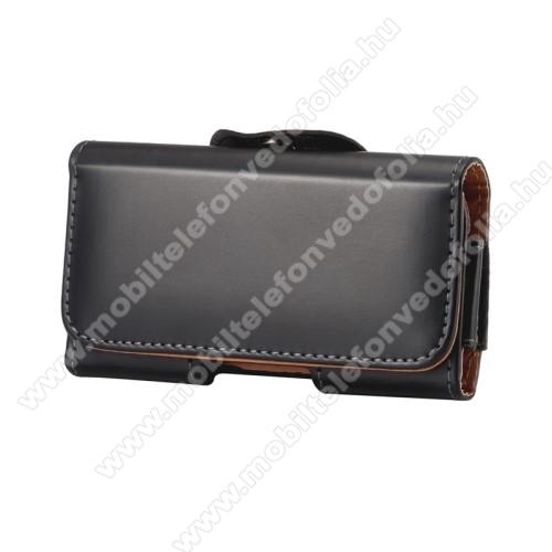 OPPO R17Fekvő tok - univerzális, mágneses, övre fűzhető, övcsipesz - 160 x 80 x 10mm - FEKETE