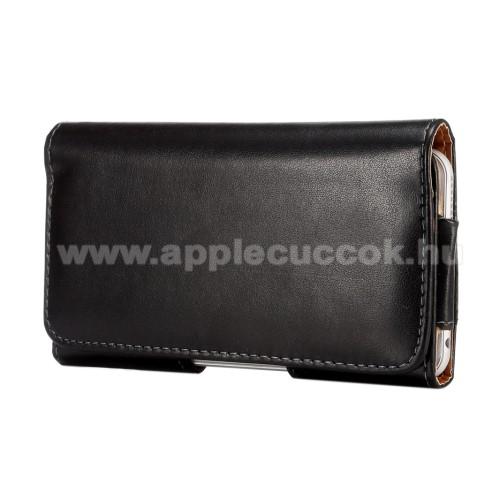 APPLE iPhone 11 Pro MaxFekvő tok - univerzális, mágneses, övre fűzhető, övcsipesz - 157 x 80 x 15mm - FEKETE