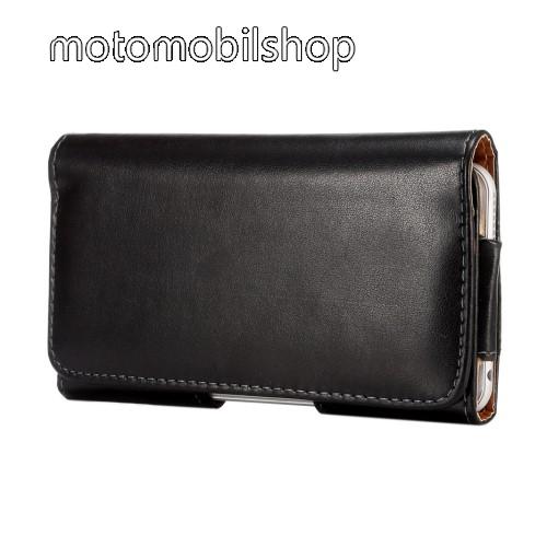 Motorola Moto E6 Plus Fekvő tok - univerzális, mágneses, övre fűzhető, övcsipesz - 157 x 80 x 15mm - FEKETE
