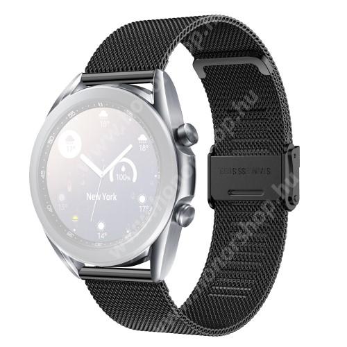 HUAWEI Watch GT 2 42mm Fém milánói okosóra szíj - rozsdamentes acél, fém háló kialakítás, csatos - FEKETE - 114mm+85mm hosszú, 20mm széles - SAMSUNG Galaxy Watch 42mm / Amazfit GTS / Galaxy Watch3 41mm / HUAWEI Watch GT 2 42mm / Galaxy Watch Active / Active 2
