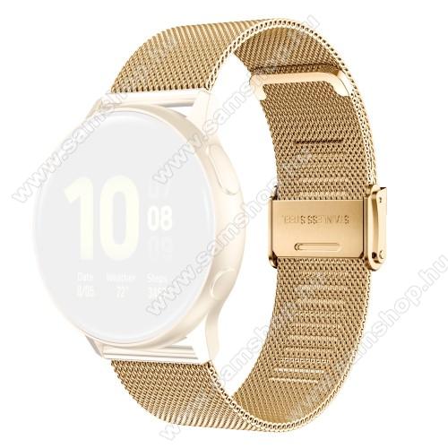 Fém milánói okosóra szíj - rozsdamentes acél, fém háló kialakítás, csatos - ARANY - 114mm+85mm hosszú, 20mm széles - SAMSUNG Galaxy Watch 42mm / Amazfit GTS / Galaxy Watch3 41mm / HUAWEI Watch GT 2 42mm / Galaxy Watch Active / Active 2