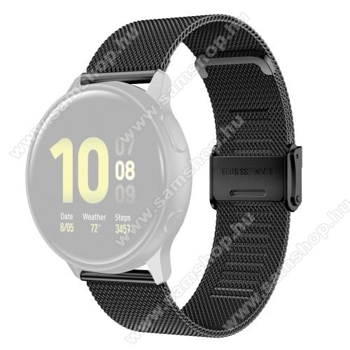 Fém milánói okosóra szíj - rozsdamentes acél, fém háló kialakítás, csatos - FEKETE - 114mm+85mm hosszú, 22mm széles - SAMSUNG Galaxy Watch 46mm / Watch GT2 46mm / Watch GT 2e / Galaxy Watch3 45mm / Honor MagicWatch 2 46mm