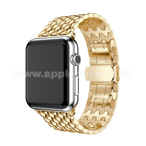 APPLE Watch Series 4 40mm Fém okosóra szíj - ARANY - 175mm hosszú, 21mm széles - Apple Watch Series 1/2/3 38mm / APPLE Watch Series 4 40mm / APPLE Watch Series 5 40mm - ACÉL