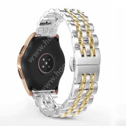 HUAWEI Honor MagicWatch 2 42mm Fém okosóra szíj - ARANY / EZÜST - rozsdamentes acél, speciális pillangó csatos, 20mm széles - SAMSUNG Galaxy Watch 42mm / Xiaomi Amazfit GTS / SAMSUNG Gear S2 / HUAWEI Watch GT 2 42mm / Galaxy Watch Active / Active 2