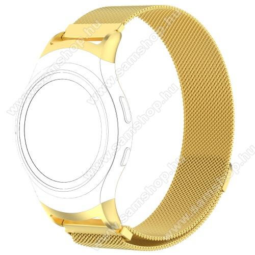 SAMSUNG SM-R360 Gear Fit 2Fém okosóra szíj - ARANY - fém háló kialakítás, mágneses, 245mm hosszú, 20mm széles - SAMSUNG Gear Fit 2 SM-R360 / SAMSUNG Gear Fit 2 Pro SM-R365