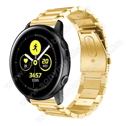 Fém okosóra szíj - ARANY - rozsdamentes acél, csatos - 188mm hosszú, 20mm széles - SAMSUNG Galaxy Watch 42mm / Xiaomi Amazfit GTS / SAMSUNG Gear S2 / HUAWEI Watch GT 2 42mm / Galaxy Watch Active / Active 2