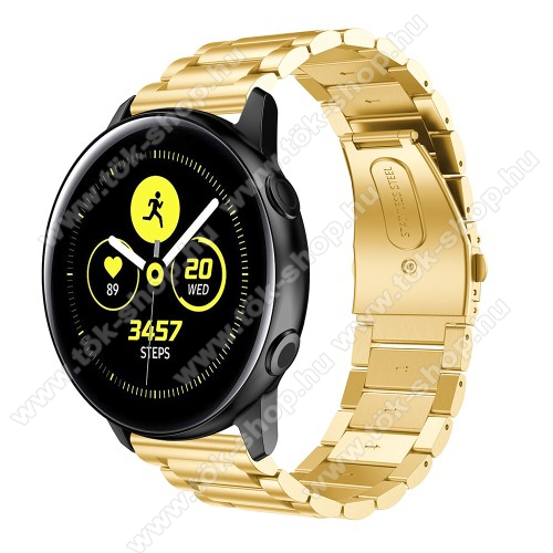 Fém okosóra szíj - ARANY - rozsdamentes acél, csatos - 188mm hosszú, 20mm széles - SAMSUNG Galaxy Watch 42mm / Xiaomi Amazfit GTS / HUAWEI Watch GT / SAMSUNG Gear S2 / HUAWEI Watch GT 2 42mm / Galaxy Watch Active / Active  2 / Galaxy Gear Sport