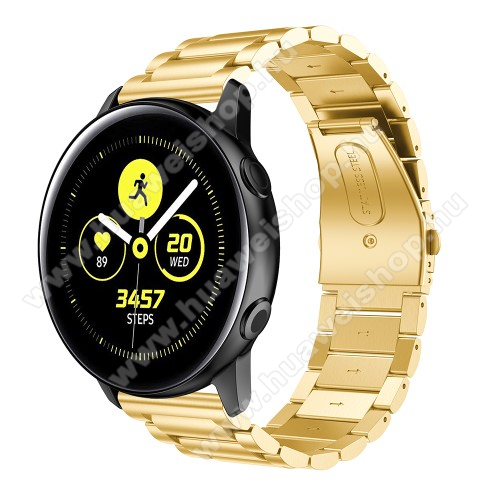HUAWEI Watch 2Fém okosóra szíj - ARANY - rozsdamentes acél, csatos - 188mm hosszú, 20mm széles - SAMSUNG Galaxy Watch 42mm / Xiaomi Amazfit GTS / SAMSUNG Gear S2 / HUAWEI Watch GT 2 42mm / Galaxy Watch Active / Active 2