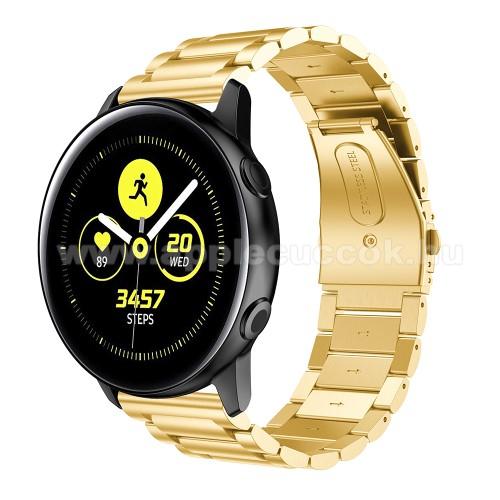 Fém okosóra szíj - ARANY - rozsdamentes acél, csatos - 188mm hosszú, 20mm széles - SAMSUNG Galaxy Watch 42mm / Xiaomi Amazfit GTS / SAMSUNG Gear S2 / HUAWEI Watch GT 2 42mm / Galaxy Watch Active / Active 2