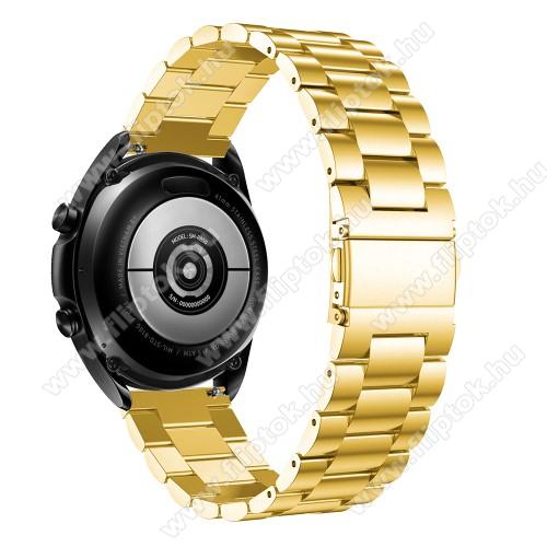 Xiaomi Watch ColorFém okosóra szíj - ARANY - rozsdamentes acél, csatos, 184mm hosszú, 22mm széles, 135-235mm-es méretű csuklóig ajánlott - SAMSUNG Galaxy Watch 46mm / Watch GT2 46mm / Watch GT 2e / Galaxy Watch3 45mm / Honor MagicWatch 2 46mm
