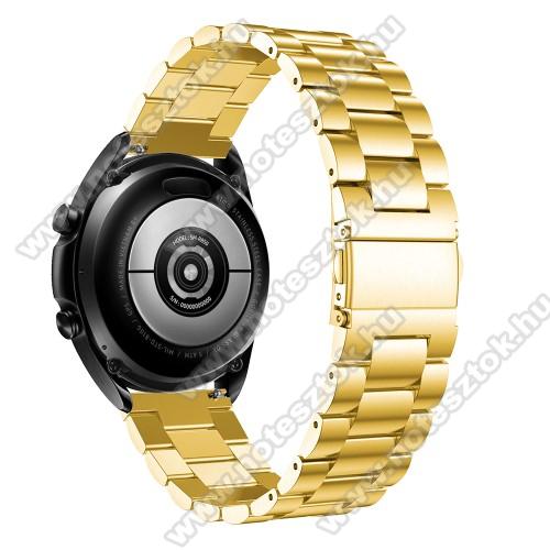 Xiaomi Mi Watch (FOR GLOBAL MARKET)Fém okosóra szíj - ARANY - rozsdamentes acél, csatos, 184mm hosszú, 22mm széles, 135-235mm-es méretű csuklóig ajánlott - SAMSUNG Galaxy Watch 46mm / Watch GT2 46mm / Watch GT 2e / Galaxy Watch3 45mm / Honor MagicWatch 2 46mm