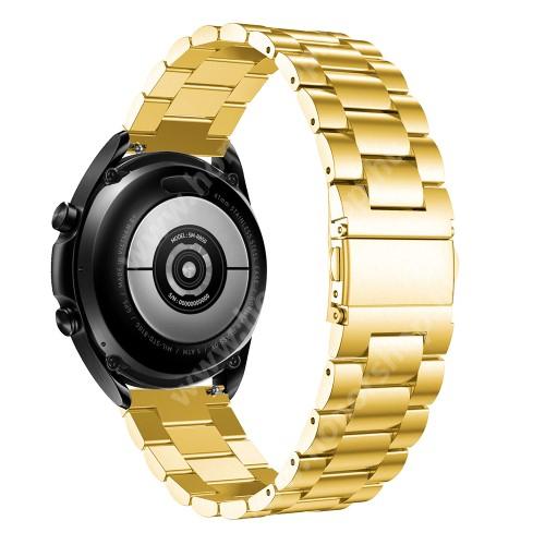 HUAWEI Watch GT 2 46mm Fém okosóra szíj - ARANY - rozsdamentes acél, csatos, 184mm hosszú, 22mm széles, 135-235mm-es méretű csuklóig ajánlott - SAMSUNG Galaxy Watch 46mm / Watch GT2 46mm / Watch GT 2e / Galaxy Watch3 45mm / Honor MagicWatch 2 46mm
