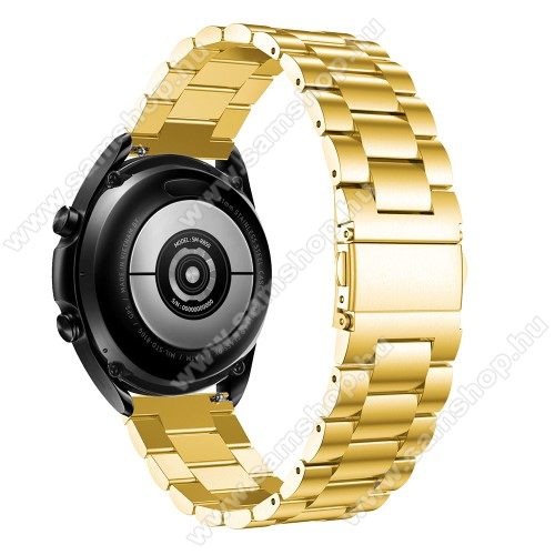 SAMSUNG SM-R760 Gear S3 FrontierFém okosóra szíj - ARANY - rozsdamentes acél, csatos, 184mm hosszú, 22mm széles, 135-235mm-es méretű csuklóig ajánlott - SAMSUNG Galaxy Watch 46mm / Watch GT2 46mm / Watch GT 2e / Galaxy Watch3 45mm / Honor MagicWatch 2 46mm