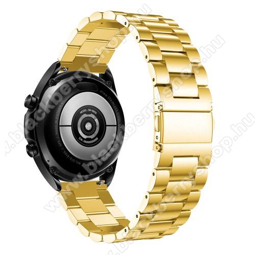 Fém okosóra szíj - ARANY - rozsdamentes acél, csatos, 184mm hosszú, 22mm széles, 135-235mm-es méretű csuklóig ajánlott - SAMSUNG Galaxy Watch 46mm / Watch GT2 46mm / Watch GT 2e / Galaxy Watch3 45mm / Honor MagicWatch 2 46mm