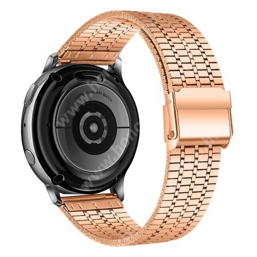 Fém okosóra szíj - ARANY - rozsdamentes acél, csatos, 84+110mm hosszú, 22mm széles - HUAWEI Watch GT / Watch 2 Pro / Honor Watch Magic / Watch GT 2 46mm / Xiaomi Amazfit / Amazfit 2 / Fossil Q MARSHAL Gen2
