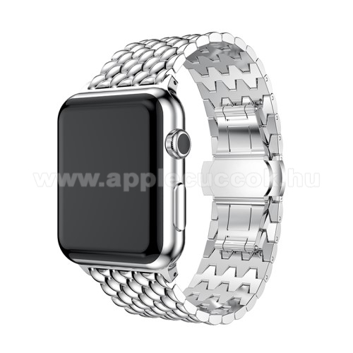 APPLE Watch Series 4 40mm Fém okosóra szíj - EZÜST - 175mm hosszú, 21mm széles - Apple Watch Series 1/2/3 38mm / APPLE Watch Series 4 40mm / APPLE Watch Series 5 40mm - ACÉL