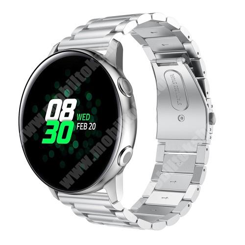 Fém okosóra szíj - EZÜST - 188mm hosszú, 20mm széles - rozsdamentes acél, csatos - SAMSUNG Galaxy Watch 42mm / Xiaomi Amazfit GTS / SAMSUNG Gear S2 / HUAWEI Watch GT 2 42mm / Galaxy Watch Active / Active 2