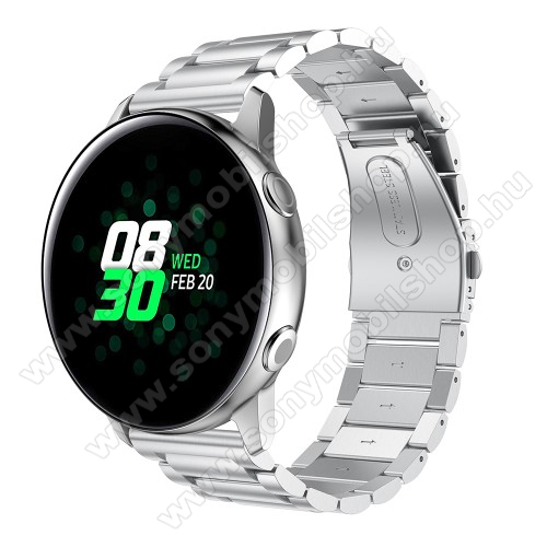 Fém okosóra szíj - EZÜST - 188mm hosszú, 20mm széles - rozsdamentes acél, csatos - SAMSUNG Galaxy Watch 42mm / Xiaomi Amazfit GTS / SAMSUNG Gear S2 / HUAWEI Watch GT 2 42mm / Galaxy Watch Active / Active 2