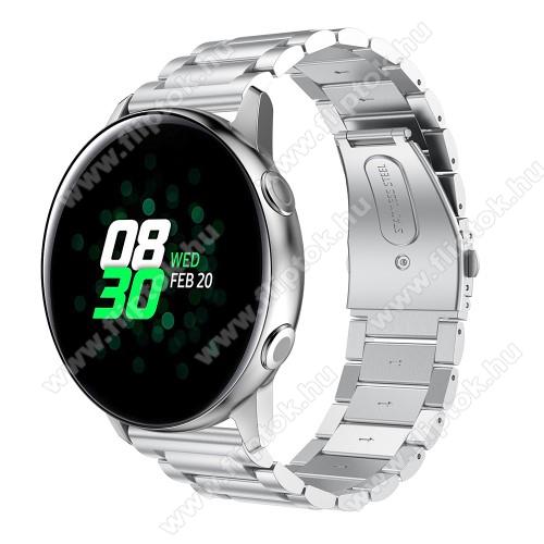 EVOLVEO SPORTWATCH M1SFém okosóra szíj - EZÜST - 188mm hosszú, 20mm széles - rozsdamentes acél, csatos - SAMSUNG Galaxy Watch 42mm / Xiaomi Amazfit GTS / SAMSUNG Gear S2 / HUAWEI Watch GT 2 42mm / Galaxy Watch Active / Active 2
