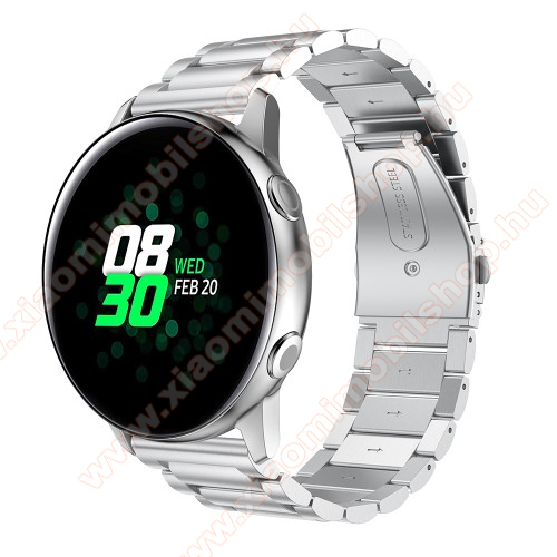 Xiaomi 70mai Saphir Fém okosóra szíj - EZÜST - 188mm hosszú, 20mm széles - rozsdamentes acél, csatos - SAMSUNG Galaxy Watch 42mm / Xiaomi Amazfit GTS / SAMSUNG Gear S2 / HUAWEI Watch GT 2 42mm / Galaxy Watch Active / Active 2