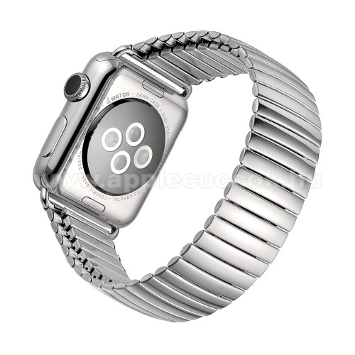 Apple Watch Series 5 44mmFém okosóra szíj - EZÜST - flexibilis, rozsdamentes acél, 210mm hosszú, 200-300mm-es csuklóméretig ajánlott - APPLE Watch Series 3/2/1 42mm / Watch Series 4/5/6 44mm / Watch SE 44mm