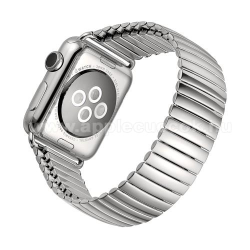 Apple Watch Series 5 40mmFém okosóra szíj - EZÜST - flexibilis, rozsdamentes acél, 200mm hosszú, 200-300mm-es csuklóméretig ajánlott - Apple Watch Series 1/2/3 38mm / APPLE Watch Series 4/5/6 40mm / Watch SE 40mm