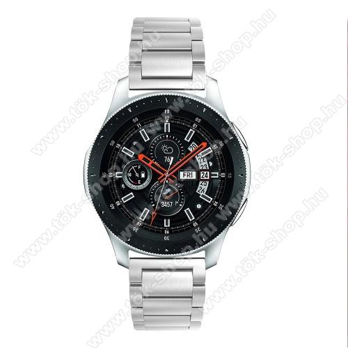 HUAWEI Honor MagicWatch 2 46mmFém okosóra szíj - EZÜST - rozsdamentes acél, csatos, 180mm hosszú, 22mm széles, 145-208 mm-es csuklóig használható - SAMSUNG Galaxy Watch 46mm / SAMSUNG Gear S3 Classic / SAMSUNG Gear S3 Frontier