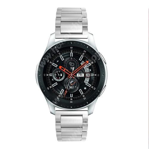 HUAWEI Honor MagicWatch 2 46mm Fém okosóra szíj - EZÜST - rozsdamentes acél, csatos, 180mm hosszú, 22mm széles, 145-208 mm-es csuklóig használható - SAMSUNG Galaxy Watch 46mm / SAMSUNG Gear S3 Classic / SAMSUNG Gear S3 Frontier