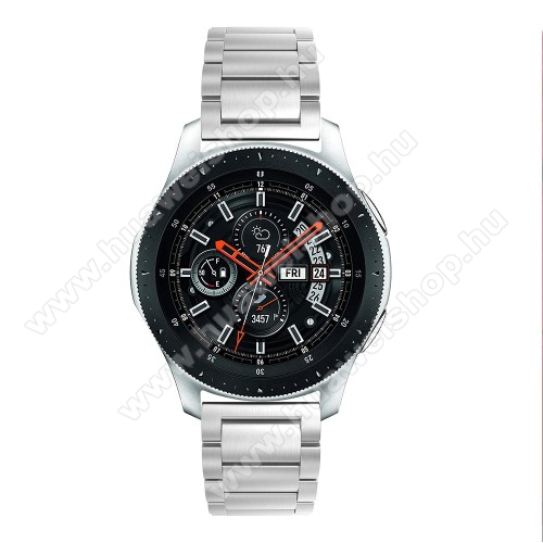 Fém okosóra szíj - EZÜST - rozsdamentes acél, csatos, 180mm hosszú, 22mm széles, 145-208 mm-es csuklóig használható - SAMSUNG Galaxy Watch 46mm / SAMSUNG Gear S3 Classic / SAMSUNG Gear S3 Frontier