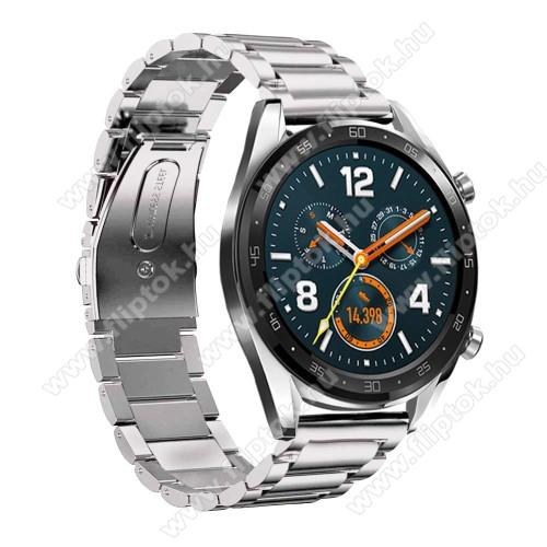 ZTE Watch GTFém okosóra szíj - EZÜST - rozsdamentes acél,  180mm hosszú, 22mm széles - HUAWEI Watch GT / HUAWEI Watch Magic / Watch GT 2 46mm