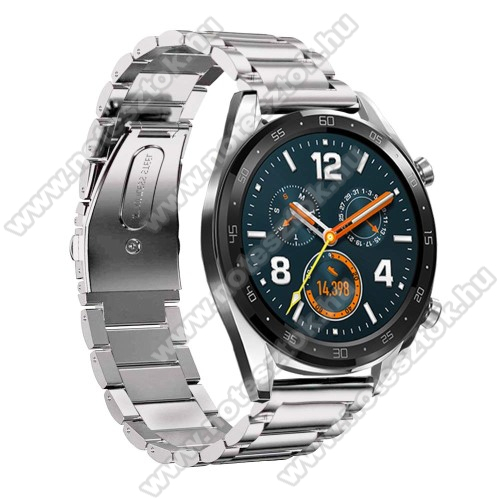 Xiaomi Mi Watch (FOR GLOBAL MARKET)Fém okosóra szíj - EZÜST - rozsdamentes acél,  180mm hosszú, 22mm széles - HUAWEI Watch GT / HUAWEI Watch Magic / Watch GT 2 46mm