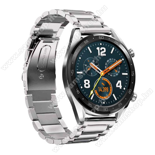 SAMSUNG SM-R760 Gear S3 Frontier Fém okosóra szíj - EZÜST - rozsdamentes acél,  180mm hosszú, 22mm széles - HUAWEI Watch GT / HUAWEI Watch Magic / Watch GT 2 46mm