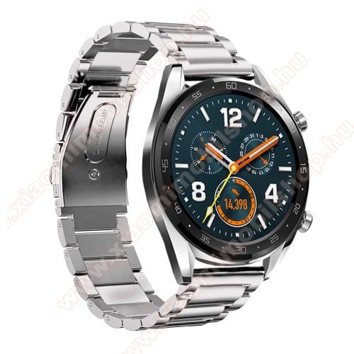 Fém okosóra szíj - EZÜST - rozsdamentes acél,  180mm hosszú, 22mm széles - HUAWEI Watch GT / HUAWEI Watch Magic / Watch GT 2 46mm