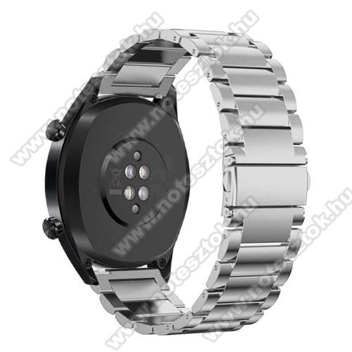 Xiaomi Mi Watch (FOR GLOBAL MARKET)Fém okosóra szíj - EZÜST - rozsdamentes acél, csatos - 180mm hosszú, 22mm széles - HUAWEI Watch GT / HUAWEI Watch Magic / Watch GT 2 46mm