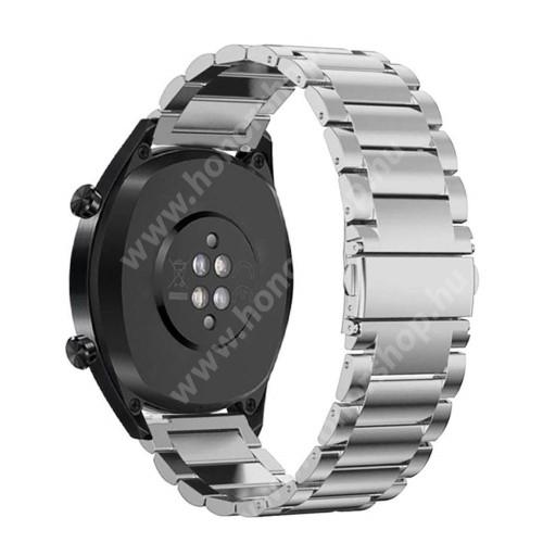 HUAWEI Honor MagicWatch 2 46mm Fém okosóra szíj - EZÜST - rozsdamentes acél, csatos - 180mm hosszú, 22mm széles - HUAWEI Watch GT / HUAWEI Watch Magic / Watch GT 2 46mm
