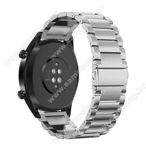 SAMSUNG SM-R760 Gear S3 FrontierFém okosóra szíj - EZÜST - rozsdamentes acél, csatos - 180mm hosszú, 22mm széles - HUAWEI Watch GT / HUAWEI Watch Magic / Watch GT 2 46mm
