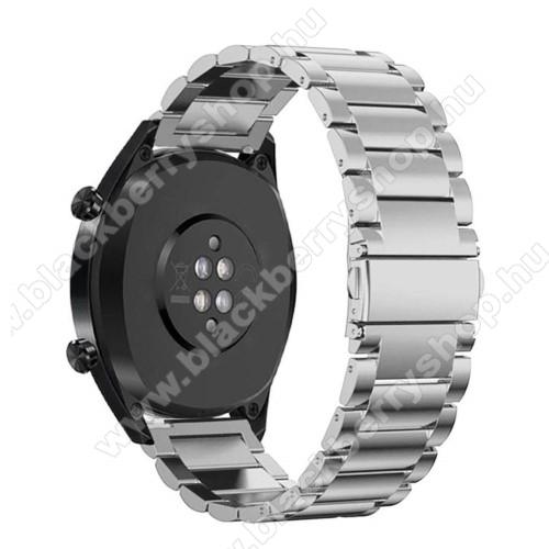 Fém okosóra szíj - EZÜST - rozsdamentes acél, csatos - 180mm hosszú, 22mm széles - HUAWEI Watch GT / HUAWEI Watch Magic / Watch GT 2 46mm