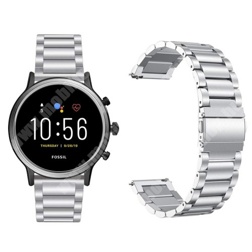 Fém okosóra szíj - EZÜST - rozsdamentes acél, csatos, 170mm hosszú, 22mm széles, 145-200 mm-es csuklóig használható - Fossil Gen 5 Carlyle HR / Julianna HR 22mm / SAMSUNG Galaxy Watch 46mm / SAMSUNG Gear S3 Frontier