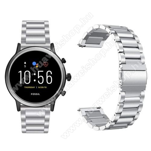 Fém okosóra szíj - EZÜST - rozsdamentes acél, csatos, 22mm széles, 145-200 mm-es csuklóig használható - Fossil Gen 5 Carlyle HR / Julianna HR 22mm / SAMSUNG Galaxy Watch 46mm / SAMSUNG Gear S3 Frontier