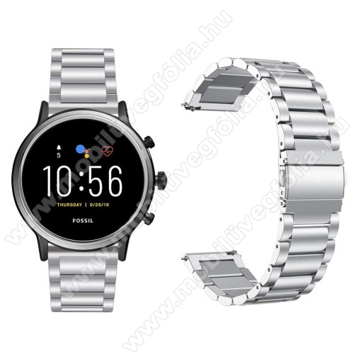 HUAWEI Honor MagicWatch 2 46mmFém okosóra szíj - EZÜST - rozsdamentes acél, csatos, 170mm hosszú, 22mm széles, 145-200 mm-es csuklóig használható - Fossil Gen 5 Carlyle HR / Julianna HR 22mm / SAMSUNG Galaxy Watch 46mm / SAMSUNG Gear S3 Frontier