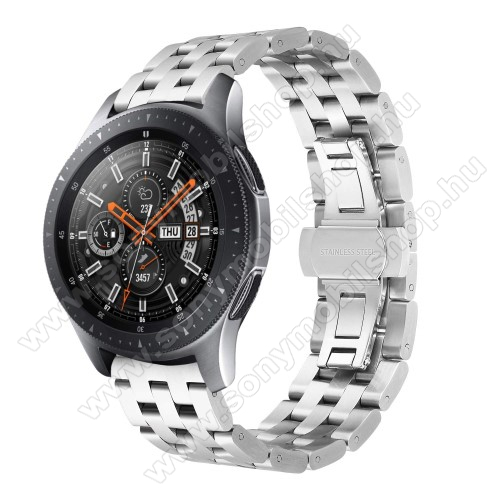 Fém okosóra szíj - EZÜST - rozsdamentes acél, speciális pillangó csatos, 20mm széles - SAMSUNG Galaxy Watch 42mm / Xiaomi Amazfit GTS / SAMSUNG Gear S2 / HUAWEI Watch GT 2 42mm / Galaxy Watch Active / Active 2