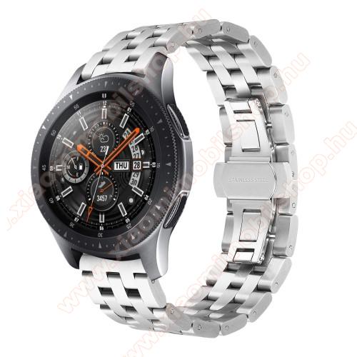 Xiaomi Amazfit Youth EditionFém okosóra szíj - EZÜST - rozsdamentes acél, speciális pillangó csatos, 20mm széles - SAMSUNG Galaxy Watch 42mm / Xiaomi Amazfit GTS / SAMSUNG Gear S2 / HUAWEI Watch GT 2 42mm / Galaxy Watch Active / Active 2