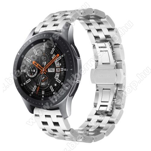 Fém okosóra szíj - EZÜST - rozsdamentes acél, speciális pillangó csatos, 20mm széles - SAMSUNG Galaxy Watch 42mm / Xiaomi Amazfit GTS / SAMSUNG Gear S2 / HUAWEI Watch GT 2 42mm / Galaxy Watch Active / Active 2