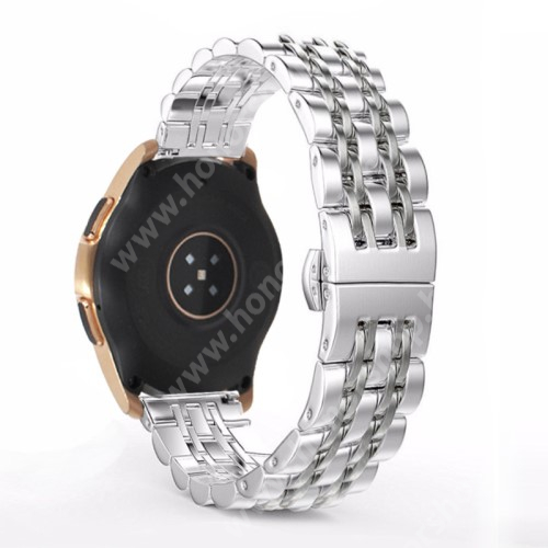 HUAWEI Honor MagicWatch 2 42mm Fém okosóra szíj - EZÜST - rozsdamentes acél, speciális pillangó csatos, 20mm széles - SAMSUNG Galaxy Watch 42mm / Xiaomi Amazfit GTS / SAMSUNG Gear S2 / HUAWEI Watch GT 2 42mm / Galaxy Watch Active / Active 2