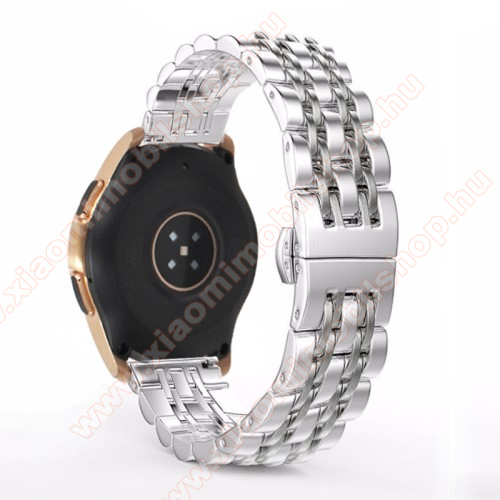 Xiaomi Amazfit BipFém okosóra szíj - EZÜST - rozsdamentes acél, speciális pillangó csatos, 20mm széles - SAMSUNG Galaxy Watch 42mm / Xiaomi Amazfit GTS / SAMSUNG Gear S2 / HUAWEI Watch GT 2 42mm / Galaxy Watch Active / Active 2