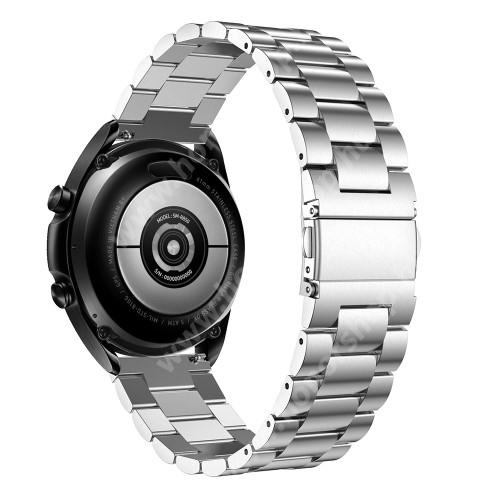 HUAWEI Honor MagicWatch 2 46mm Fém okosóra szíj - EZÜST - rozsdamentes acél, csatos, 180mm hosszú, 22mm széles - SAMSUNG Galaxy Watch 46mm / Watch GT2 46mm / Watch GT 2e / Galaxy Watch3 45mm / Honor MagicWatch 2 46mm