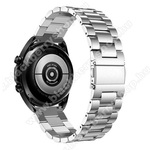 Fém okosóra szíj - EZÜST - rozsdamentes acél, csatos, 184mm hosszú, 22mm széles, 135-235mm-es méretű csuklóig ajánlott - SAMSUNG Galaxy Watch 46mm / Watch GT2 46mm / Watch GT 2e / Galaxy Watch3 45mm / Honor MagicWatch 2 46mm