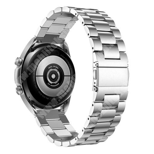 Fém okosóra szíj - EZÜST - rozsdamentes acél, csatos, 184mm hosszú, 20mm széles, 135-235mm-es méretű csuklóig ajánlott - SAMSUNG Galaxy Watch 42mm / Xiaomi Amazfit GTS / Galaxy Watch3 41mm / HUAWEI Watch GT 2 42mm / Galaxy Watch Active / Active 2