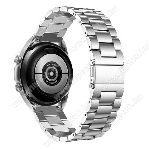 EVOLVEO SPORTWATCH M1SFém okosóra szíj - EZÜST - rozsdamentes acél, csatos, 184mm hosszú, 20mm széles, 135-235mm-es méretű csuklóig ajánlott - SAMSUNG Galaxy Watch 42mm / Xiaomi Amazfit GTS / Galaxy Watch3 41mm / HUAWEI Watch GT 2 42mm / Galaxy Watch Active / Active 2