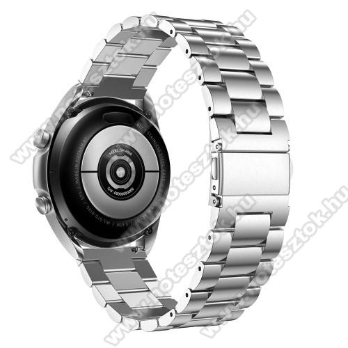 WOTCHI SmartWatch W22SFém okosóra szíj - EZÜST - rozsdamentes acél, csatos, 184mm hosszú, 20mm széles, 135-235mm-es méretű csuklóig ajánlott - SAMSUNG Galaxy Watch 42mm / Xiaomi Amazfit GTS / Galaxy Watch3 41mm / HUAWEI Watch GT 2 42mm / Galaxy Watch Active / Active 2